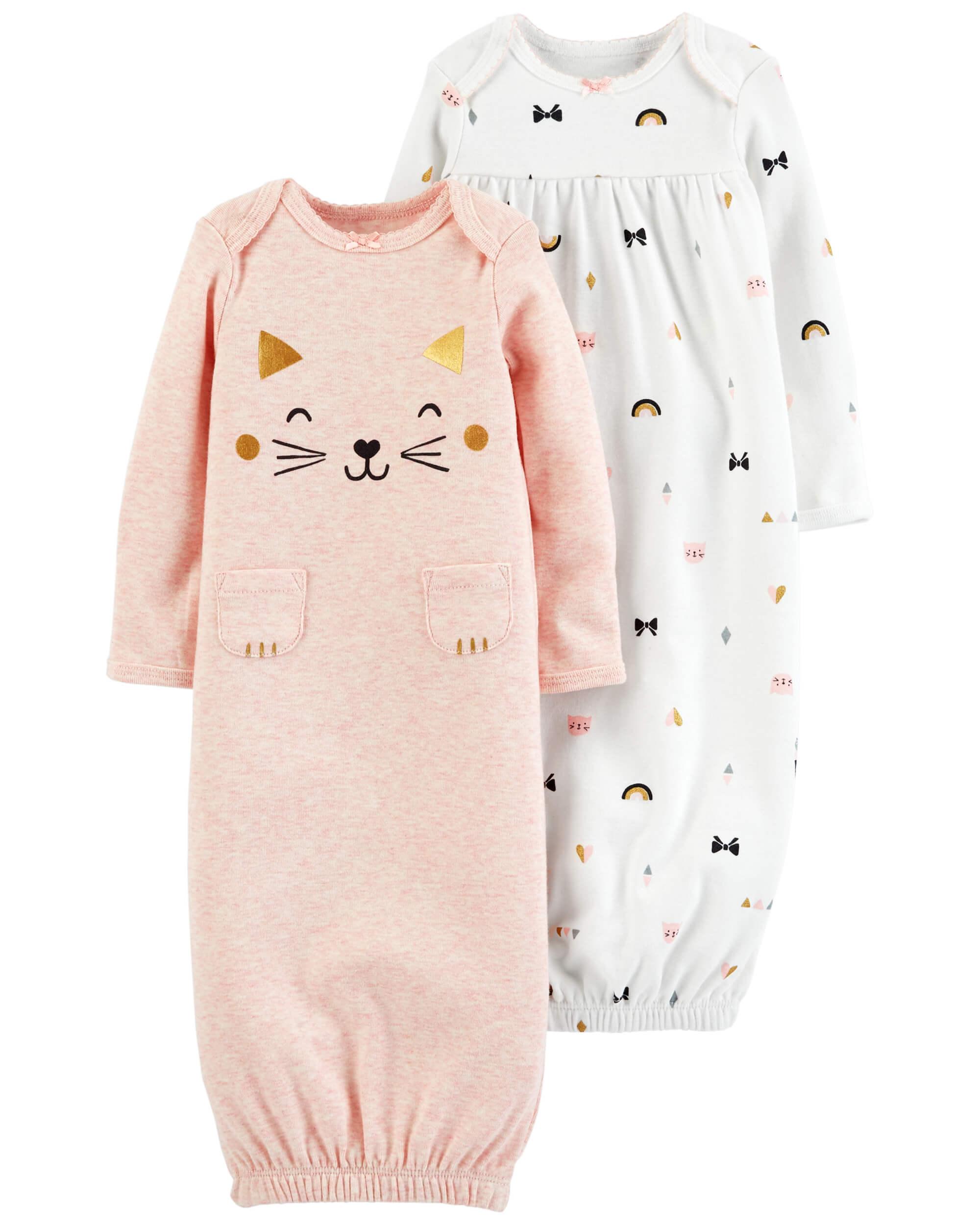 94c4069769a Carter's Φόρμες ύπνου σετ των δύο τεμαχίων ,ροζ -λευκό με σχέδιο γατούλα