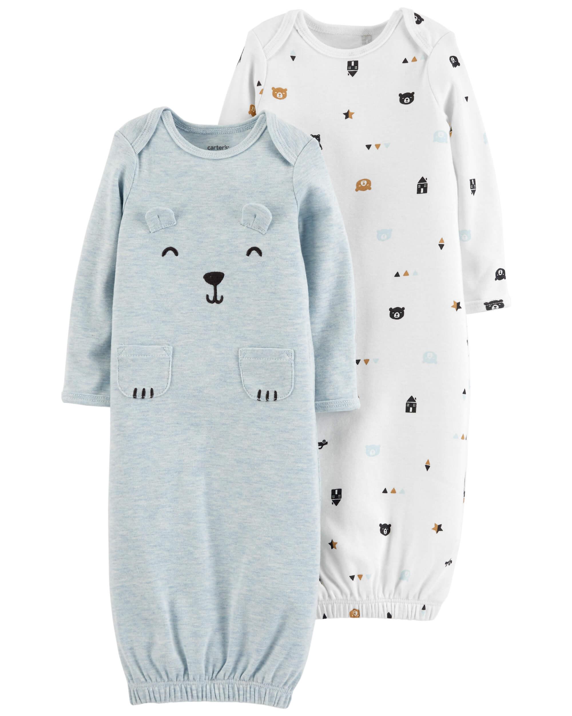 0b039cd84ae Carter's Φόρμες ύπνου σετ των δύο τεμαχίων, μπλέ -λευκή με σχέδιο πρόσωπο  αρκουδάκι