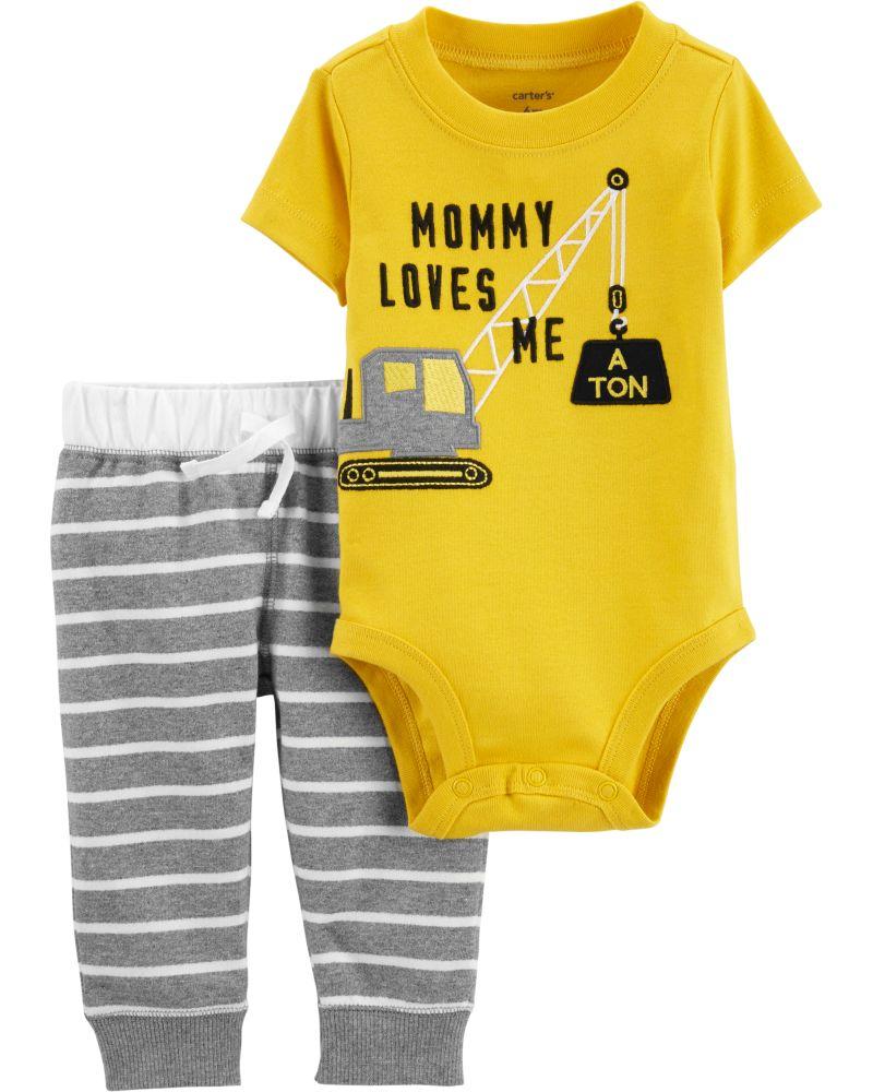 e410d899080 Carter's Σετ των δύο τεμαχίων, Κορμάκι-Παντελόνι, γερανός»Mommy Loves Me»